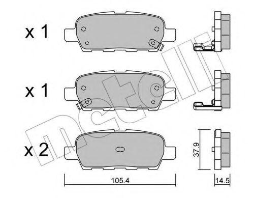 METELLI 22-0612-0 Комплект тормозных колодок, дисковый тормоз для NISSAN QASHQAI (Ниссан Кашкай)