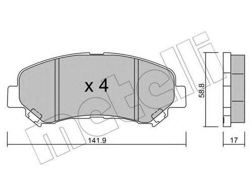 METELLI 22-0792-0 Комплект тормозных колодок, дисковый тормоз для NISSAN QASHQAI (Ниссан Кашкай)