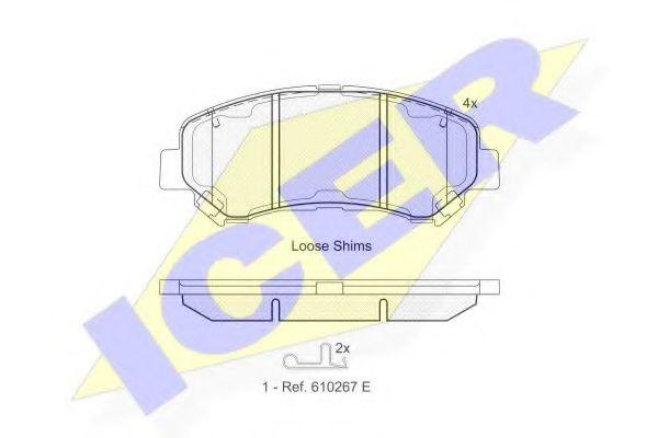 ICER 181834 Комплект тормозных колодок, дисковый тормоз для NISSAN QASHQAI (Ниссан Кашкай)
