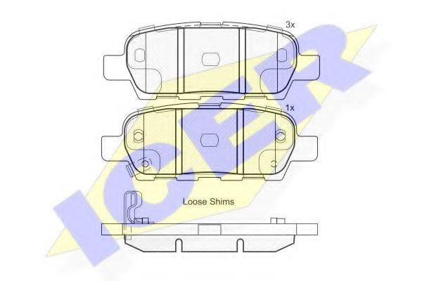 ICER 181838 Комплект тормозных колодок, дисковый тормоз для NISSAN QASHQAI (Ниссан Кашкай)
