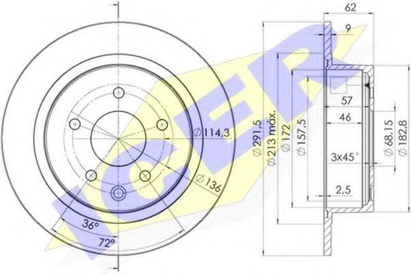 ICER 78BD2931-2 Тормозной диск для NISSAN QASHQAI (Ниссан Кашкай)