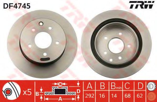 TRW DF4745 Тормозной диск для NISSAN QASHQAI (Ниссан Кашкай)