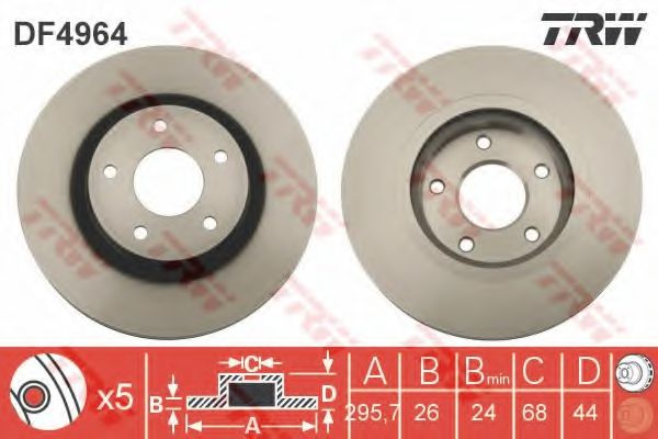 TRW DF4964 Тормозной диск для NISSAN QASHQAI (Ниссан Кашкай)