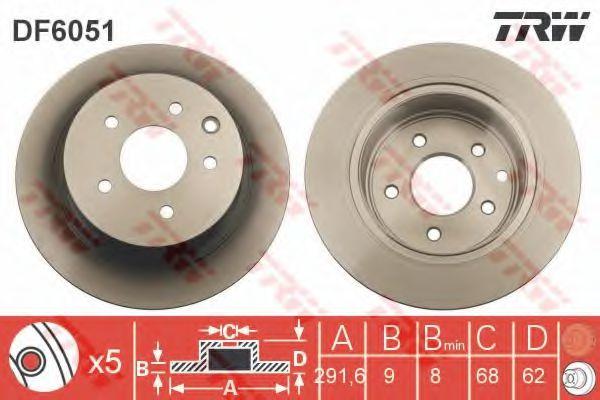 TRW DF6051 Тормозной диск для NISSAN QASHQAI (Ниссан Кашкай)