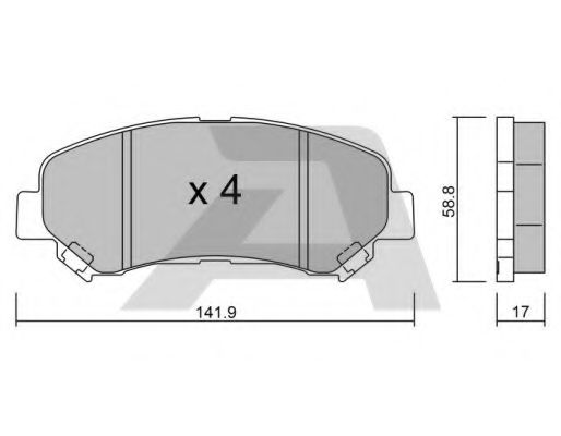 AISIN BPNI-1004 Комплект тормозных колодок, дисковый тормоз для NISSAN QASHQAI (Ниссан Кашкай)