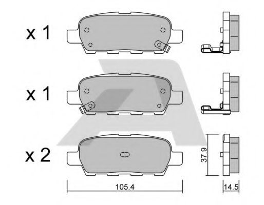 AISIN BPNI-2001 Комплект тормозных колодок, дисковый тормоз для NISSAN QASHQAI (Ниссан Кашкай)
