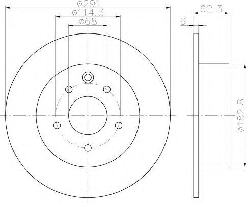HELLA 8DD 355 114-611 Тормозной диск для NISSAN QASHQAI (Ниссан Кашкай)