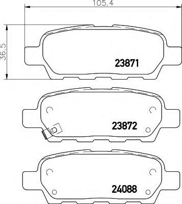 HELLA 8DB 355 010-241 Комплект тормозных колодок, дисковый тормоз для NISSAN QASHQAI (Ниссан Кашкай)