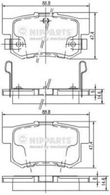 NIPPARTS J3614008 Комплект тормозных колодок, дисковый тормоз для GREAT WALL HOVER H6 (Грейтвол Хоvэр х6)