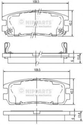 NIPPARTS J3619001 Комплект тормозных колодок, дисковый тормоз для GREAT WALL HOVER H5 (Грейтвол Ховер н5)