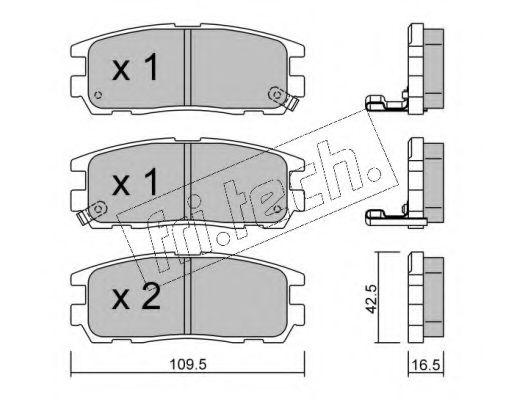 fri.tech. 367.0 Комплект тормозных колодок, дисковый тормоз для GREAT WALL HOVER H6 (Грейтвол Хоvэр х6)