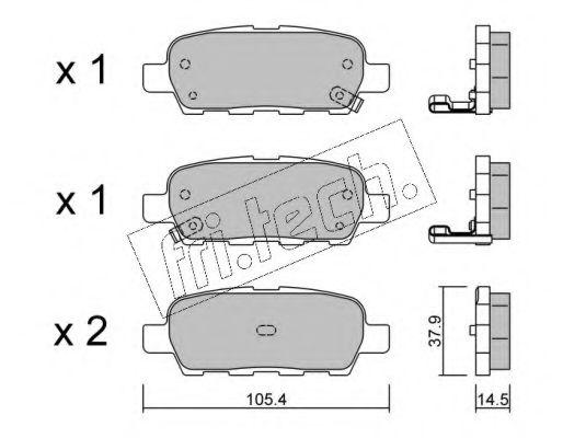 fri.tech. 628.0 Комплект тормозных колодок, дисковый тормоз для NISSAN QASHQAI (Ниссан Кашкай)