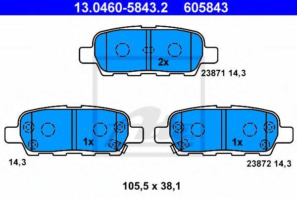ATE 13.0460-5843.2 Комплект тормозных колодок, дисковый тормоз для NISSAN QASHQAI (Ниссан Кашкай)