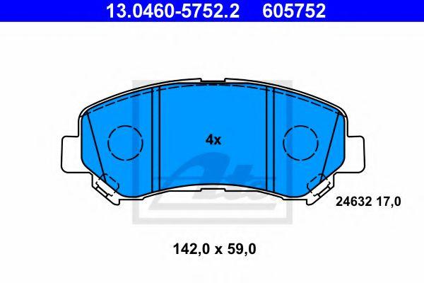 ATE 13.0460-5752.2 Комплект тормозных колодок, дисковый тормоз для NISSAN QASHQAI (Ниссан Кашкай)