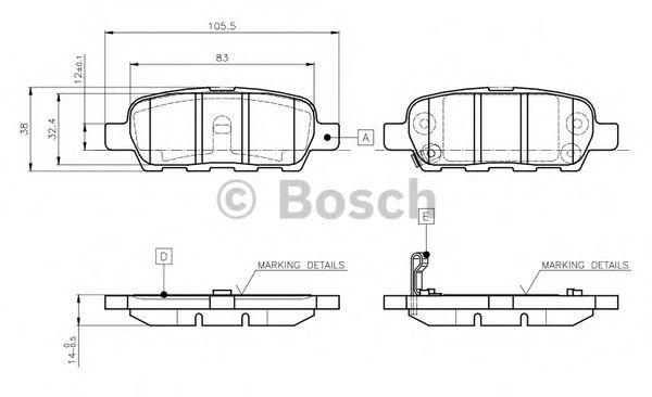 BOSCH 0 986 TB2 417 Комплект тормозных колодок, дисковый тормоз задний мост для NISSAN QASHQAI (Ниссан Кашкай)