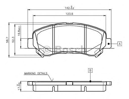 BOSCH 0 986 TB3 117 Комплект тормозных колодок, дисковый тормоз для NISSAN QASHQAI (Ниссан Кашкай)