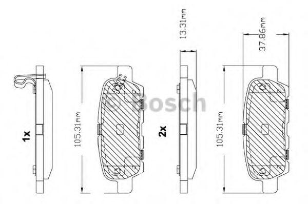 BOSCH F 03B 150 099 Комплект тормозных колодок, дисковый тормоз задний мост для NISSAN QASHQAI (Ниссан Кашкай)