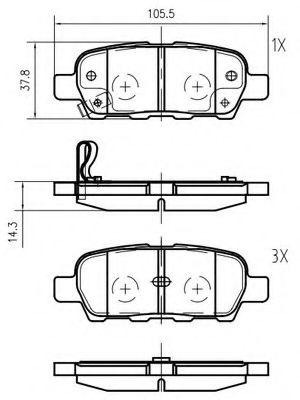 VEMA K625700 Комплект тормозных колодок, дисковый тормоз для NISSAN QASHQAI (Ниссан Кашкай)