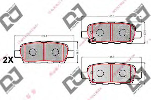DJ PARTS BP2096 Комплект тормозных колодок, дисковый тормоз для NISSAN QASHQAI (Ниссан Кашкай)