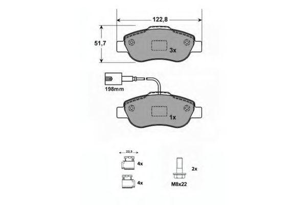 PROCODIS FRANCE PF1597 Комплект тормозных колодок, дисковый тормоз передний мост для NISSAN QASHQAI (Ниссан Кашкай)