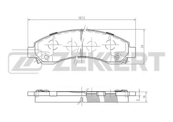 ZEKKERT BS-1244 Комплект тормозных колодок, дисковый тормоз для GREAT WALL HOVER H5 (Грейтвол Ховер н5)