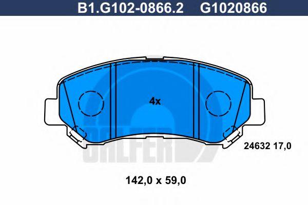 GALFER B1.G102-0866.2 Комплект тормозных колодок, дисковый тормоз для NISSAN QASHQAI (Ниссан Кашкай)