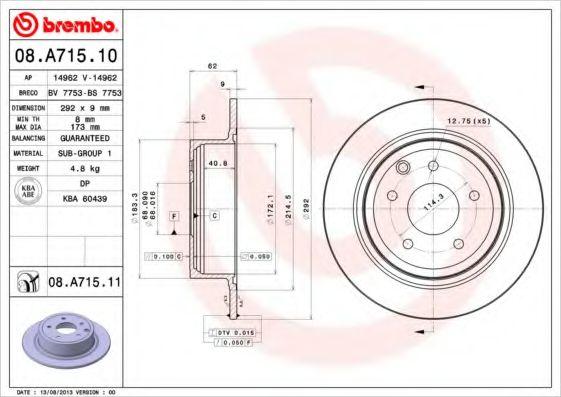 BREMBO 08.A715.10 Тормозной диск для NISSAN QASHQAI (Ниссан Кашкай)