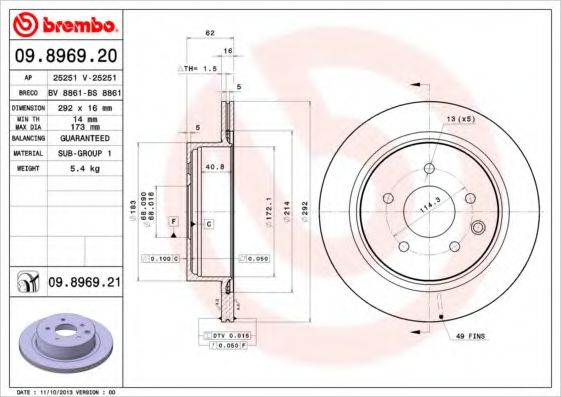 BREMBO 09.8969.21 Тормозной диск для NISSAN QASHQAI (Ниссан Кашкай)