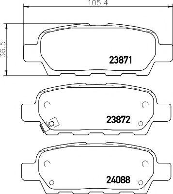 MINTEX MDB2261 Комплект тормозных колодок, дисковый тормоз для NISSAN QASHQAI (Ниссан Кашкай)