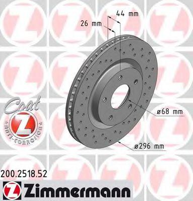 ZIMMERMANN 200.2518.52 Тормозной диск для NISSAN QASHQAI (Ниссан Кашкай)