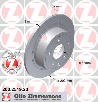ZIMMERMANN 200.2519.20 Тормозной диск для NISSAN QASHQAI (Ниссан Кашкай)
