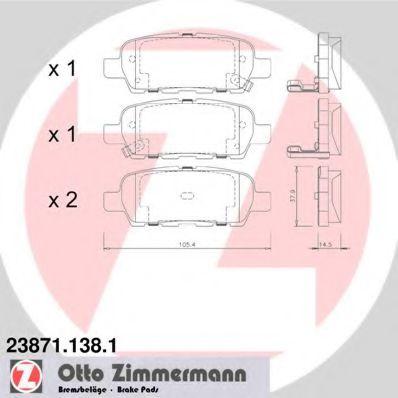ZIMMERMANN 23871.138.1 Комплект тормозных колодок, дисковый тормоз для NISSAN QASHQAI (Ниссан Кашкай)