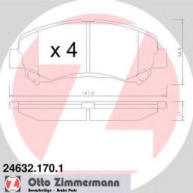 ZIMMERMANN 24632.170.1 Комплект тормозных колодок, дисковый тормоз для NISSAN QASHQAI (Ниссан Кашкай)