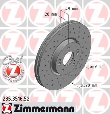 Тормозной диск ZIMMERMANN 285.3516.52