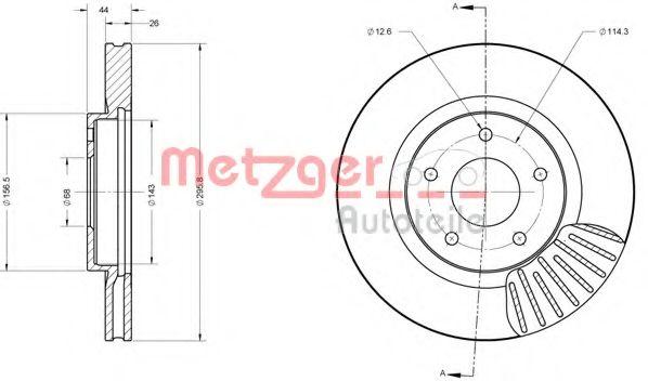 METZGER 6110177 Тормозной диск для NISSAN QASHQAI (Ниссан Кашкай)